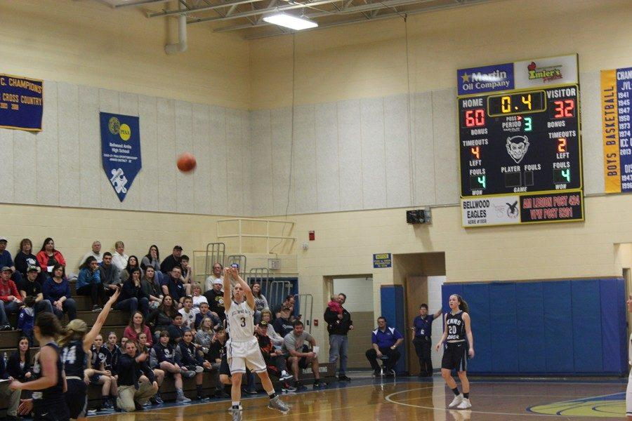 Karson Swogger missed this half-court heave, but she didnt miss much else in the Lady Devils win over Penns Manor.