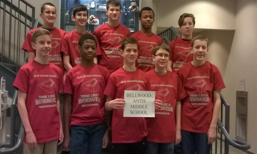Mathcounts team members include: front row (l to r): Kenneth Robison, Aiden Taylor, Sean Mallon, John Sloey, Brendan Andrews; back row (l to r): Jack Luensmann, Caedon Poe, Zach Mallon, Alex Taylor, Emma Corrado