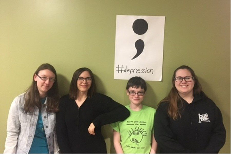 (L to r): Kaitlyn Farber, Kyra Woomer, Alanna Vaglica, and Kyra Woomer qualified for PMEA Region III band.