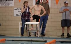 Brendan Kowalski qualified for Districts in the 50 free, just months after having a record-breaking football season.