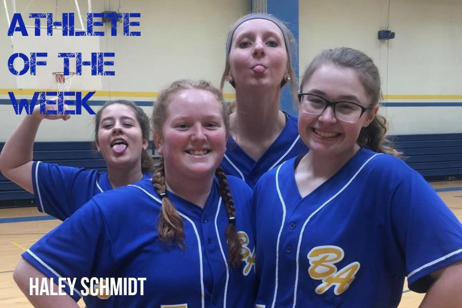 Haley Schmidt, front left, relaxes with Kaitlyn Knisely, Maddie Miller and Casi Shade.