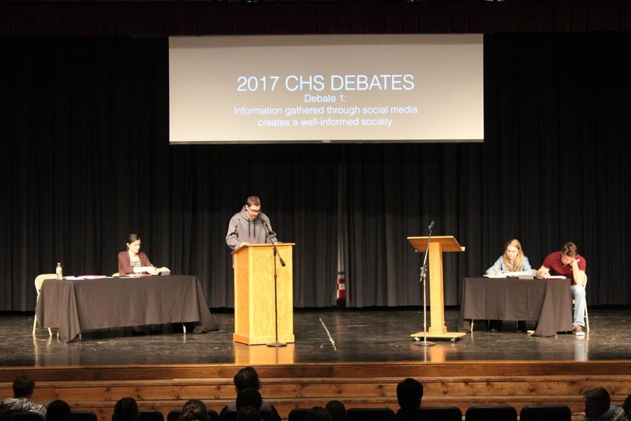 Joe Padula kicks things off for his team, presenting as the first speaker in the annual CHS school-wide debates.