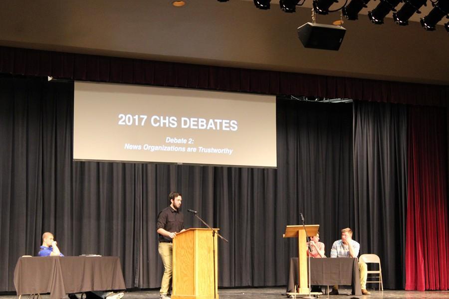 Jarryd Kissel makes a point in his debate. (Bryce Graham)