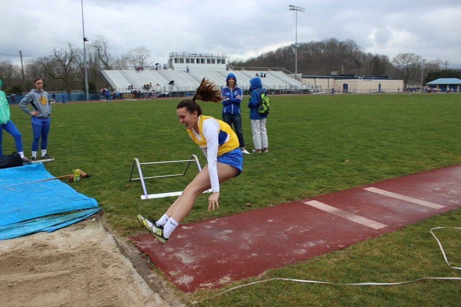 Alanna+Leidig+competes+in+the+long+jump+for+the+B-A+girls+in+their+loss+to+Bedford.