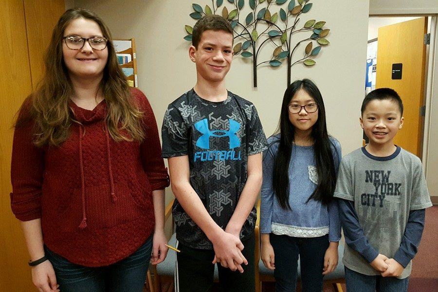 The latest middle school Students of the Week are (l to r): Lauren Young, Sean Mallon, Alainy Liang, and Kevin Liang.