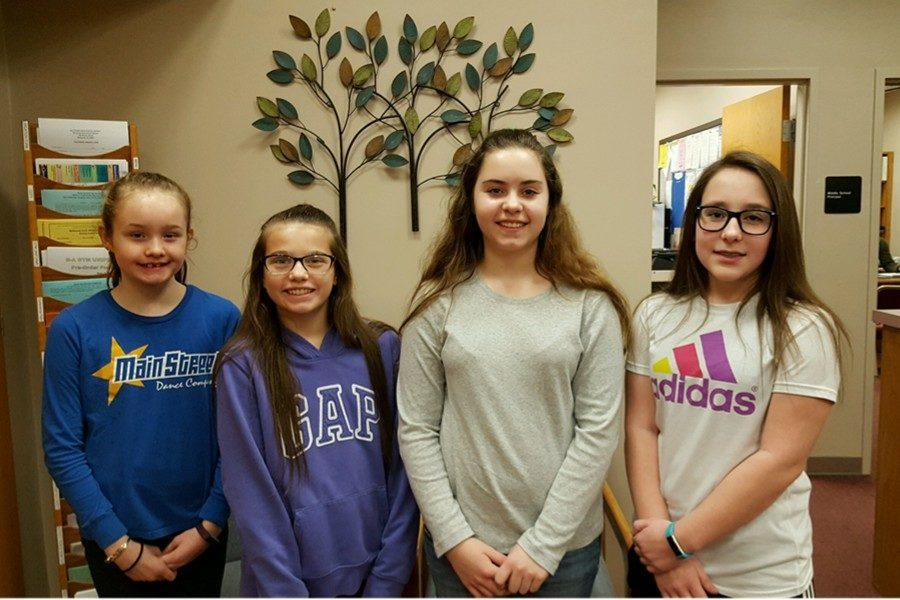The most recent middle school Students of the Week are: (l to r) Carsyn Gilbert, Layla Kurtz, Gabriella Musselman, and Abigail Snyder.