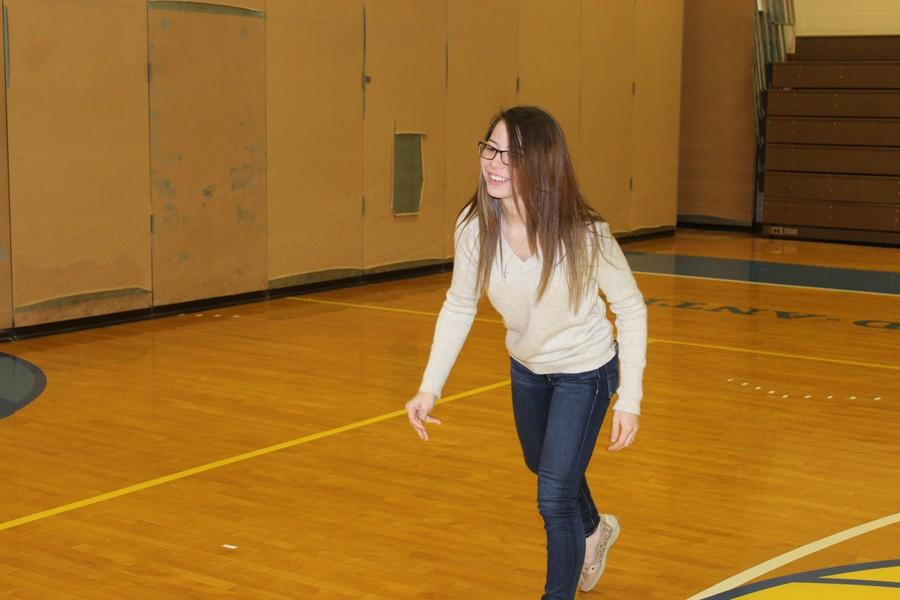 Sophomore Paige Wenner spends several study halls each month working with students in B-A's adapted PE program.