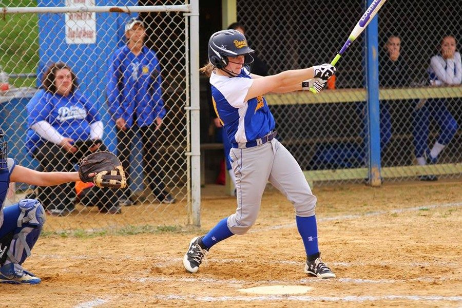 Krystina Taylor drives in a pair of runs against Williamsburg in the softball team's loss.