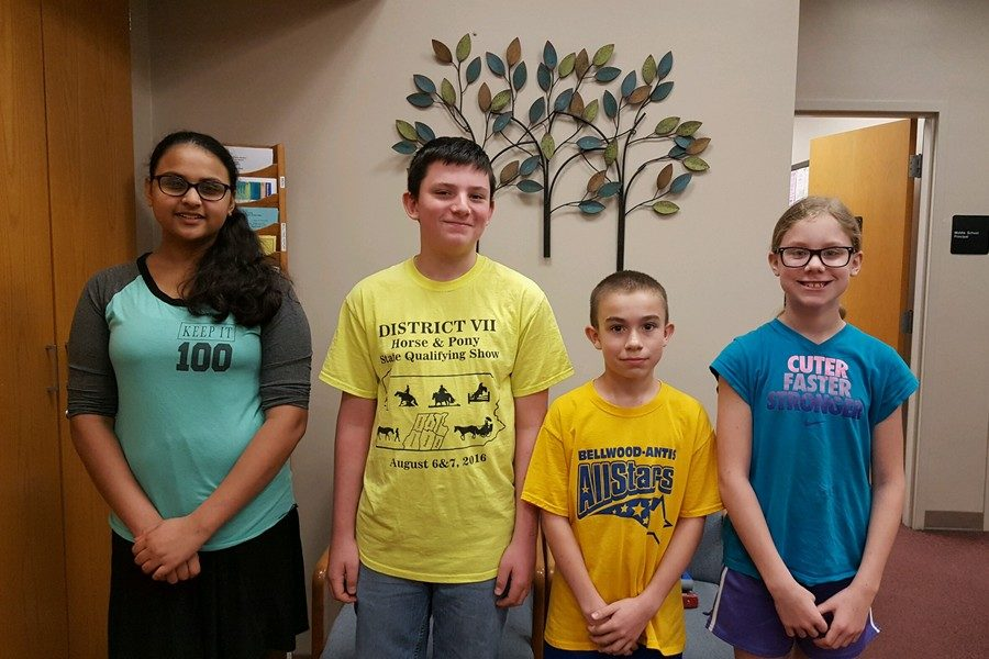 The middle school students of the week from left to right are Rushali Patel, Patrick Coakley, Caleb Beiswenger, and Jessie Corrado.