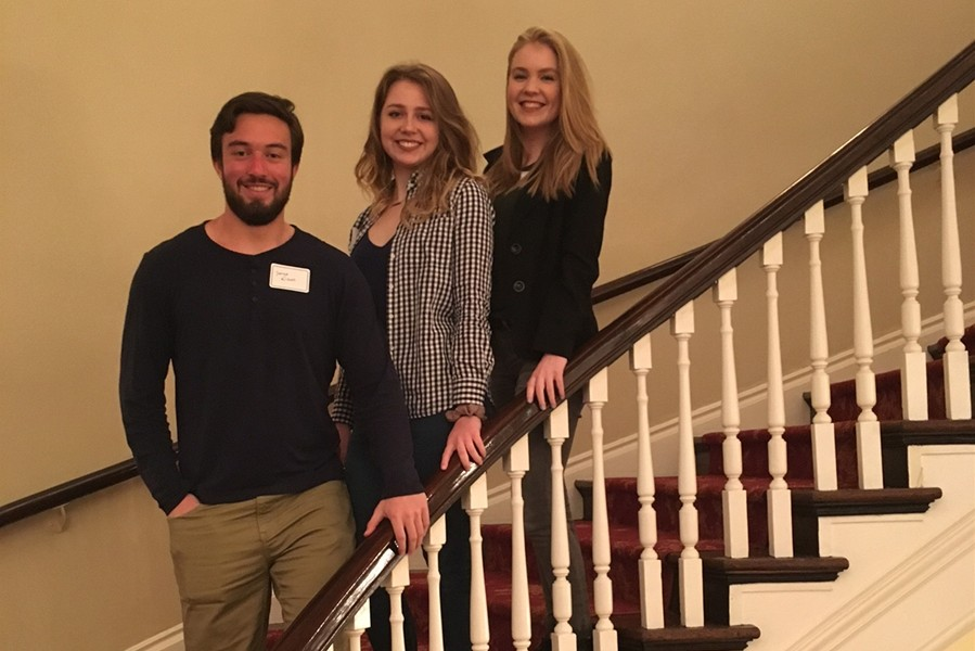 Grace Misera, top of the steps, was chosen to represent Bellwood-Antis at the CHS Public Forum later this month. She is shown here with classmates Jarryd Kissell and Haley McCloskey at a workshop for the event at the University Club on the campus of the University of Pittsburgh.