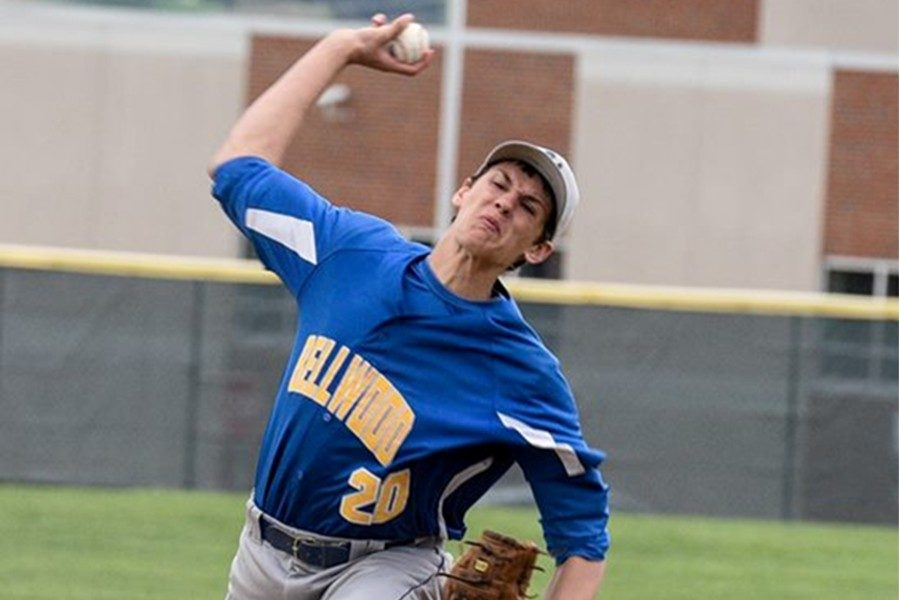 Travis Luensman came on in long relief against Bald Eagle Area and was able to earn the pitching victory.
