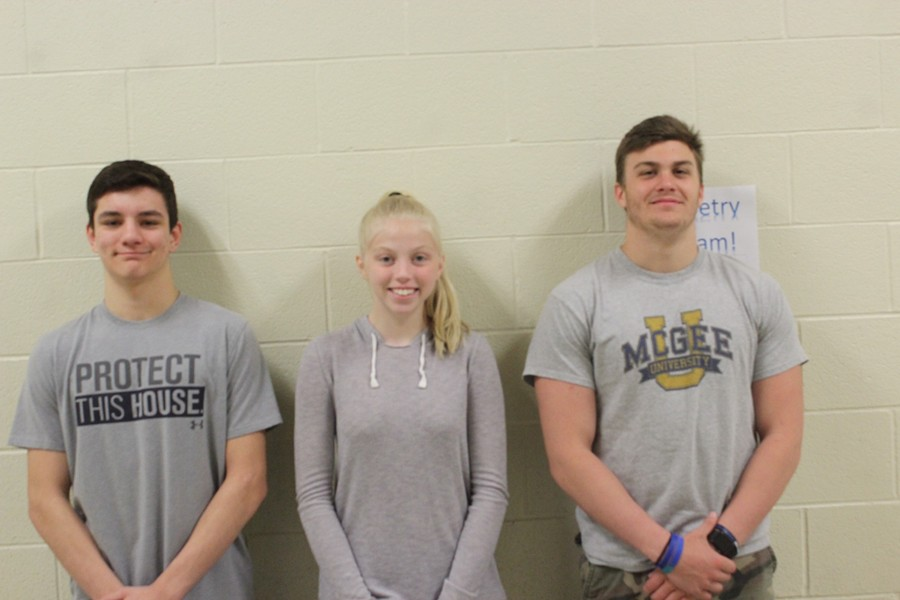 (L to r) Julian Bartlebaugh, Kaelynn Behrens and Ethan McGee won awards in the PA Press Club communications contest. Missing is Sidney Patterson.