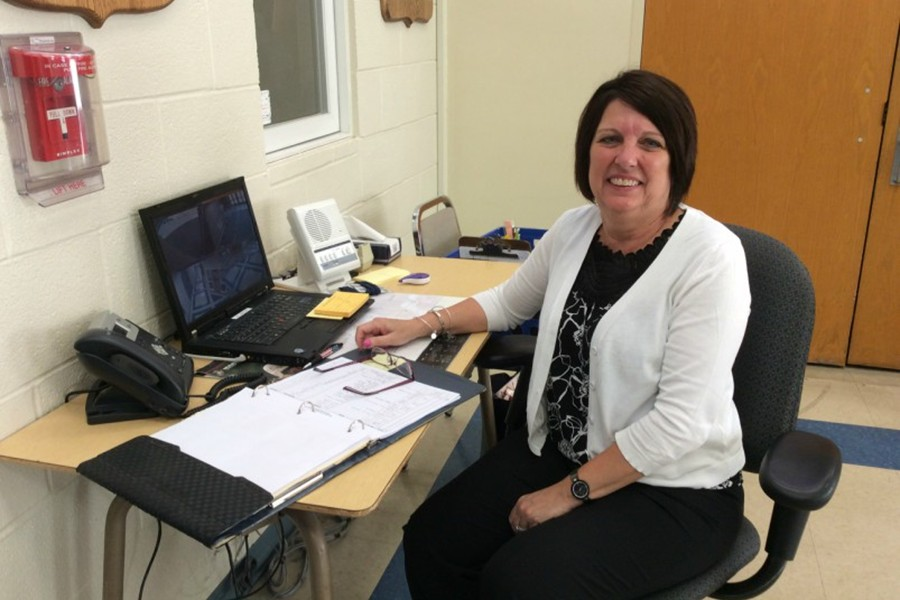 Deb Lechner is one of several greeters working at Bellwood-Antis High School. Greeters always are working hard at the front entrance.