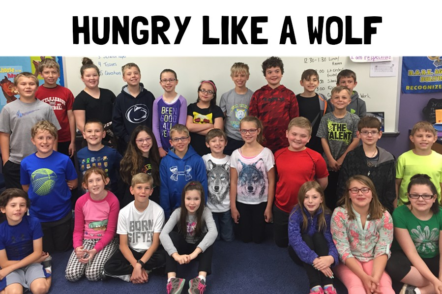 Fourth graders at Myers in Mr. Ruda Burns class raised funds to adopt two wolves.