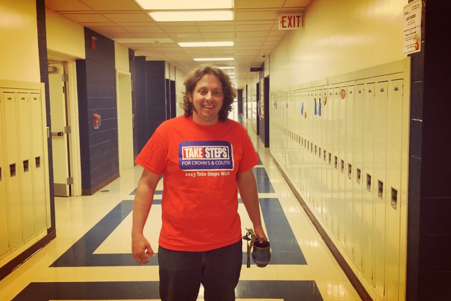 Mr. Stewart was one of many teachers on Tuesday wearing jeans and even t-shirts in support of finding a cure for Crohns and Colitis.