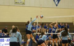 Bella Kies goes for the spike in the volleyball team's big win over Williamsburg.