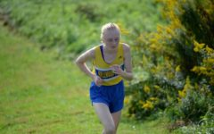 Jenna Bartlett rinds it out up the challenging hill on Tyrone's cross country course. Jenna won the race by more than a minute.