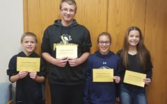 This weeks middle school Students of the Week are (l to r) Izayah Little, Aaron Laird, Shawna Lovrich, and Layla Kurtz.
