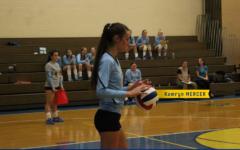 Kamryn Mercer Prepares to Serve the Ball against Juniata Valley. (Julie Norris)