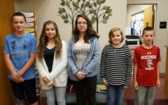 This weeks middle school Students of the Week are (l to r): Brandon Cherry, Kali Riggleman, Ceirra Dillen, Julia Johnson, and Holden Schreier.