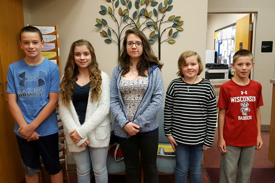 This week's middle school Students of the Week are (l to r): Brandon Cherry, Kali Riggleman, Ceirra Dillen, Julia Johnson, and Holden Schreier.