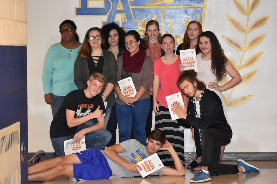 District chorus auditioners included: front row, Robert Van Kirk; kneeling, Alex Roberts and Dominic Faith; back row, Shalee Bennett, Kyra Woomer, Idamarie Lugo , Hannah Hornberger, Cazen Cowfer, Anna Sloey, Karlie Feathers, and Brooke Beichler. Missing from photo are Kaitlyn Shanfelt and Kaleah Smith.