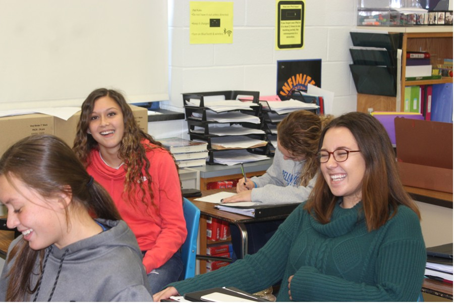 Hannah Hornberger, shown with Ali Dumin and Tina Hollen before math class, has made a big splash in her four years at BAHS.