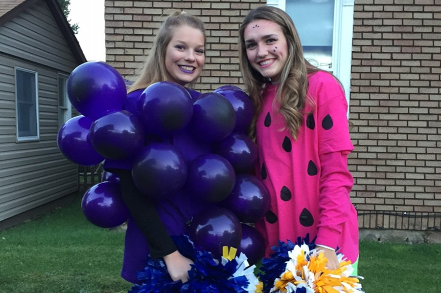 Lydia Eamigh and Sidney Patterson had a fruity idea for last year's Halloween parade. This year, students can dress up for Halloween in school.