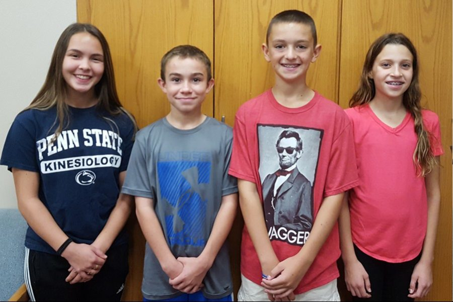 This week's middle school Students of the Week are (l to r): Anna Lovrich, Caleb Beiswenger, Jacob Mercer, and Avah Hassler.