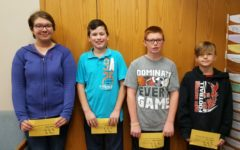 This weeks middle school students of the week are (l to r): Sarah Berkowitz, Nathan Patton, Chance Schreier, and Seth Regan.