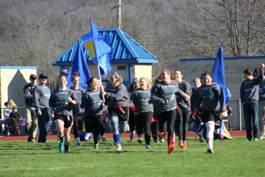 Caroline Showalter led the seniors onto the field in 2015. The 2017 Powder Puff game takes place this weekend.