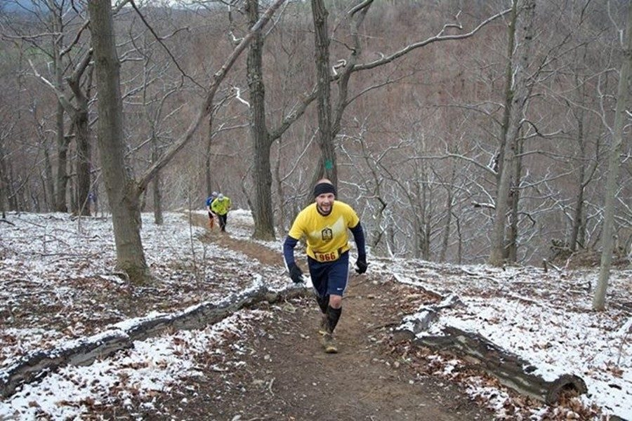 Mr. Sachse competes in one of the many trail runs he has completed since 2012.