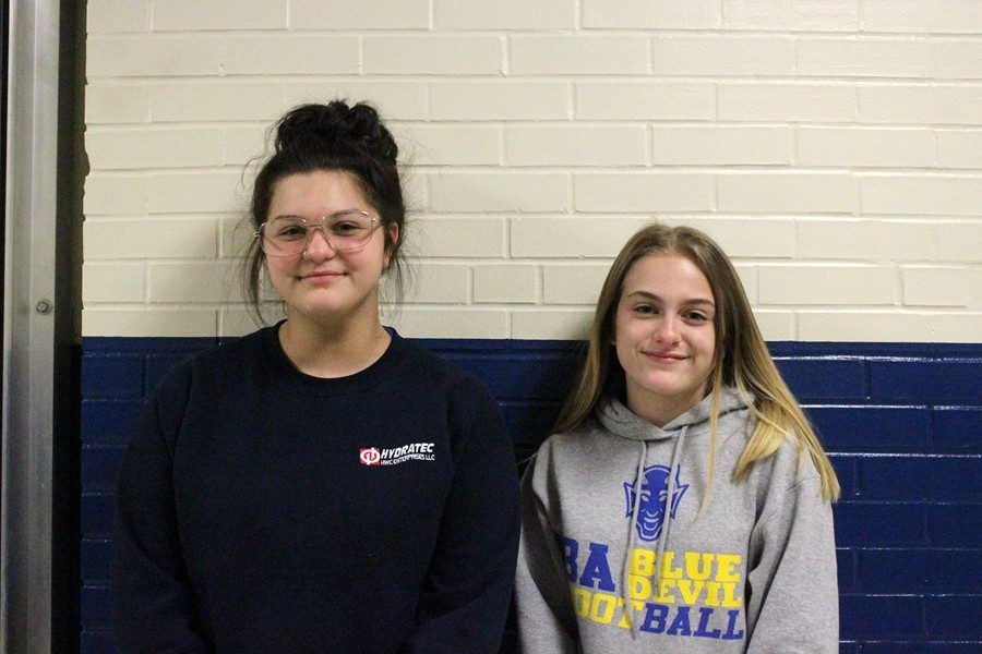 CalyAnne Taylor (left) and Riley Endress took home first-place ribbons at the most recent junior high speech meet.