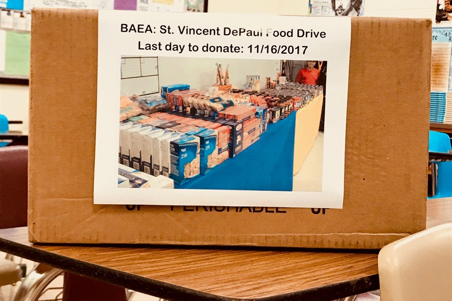 BAEA is hosting a food drive for the next two weeks.