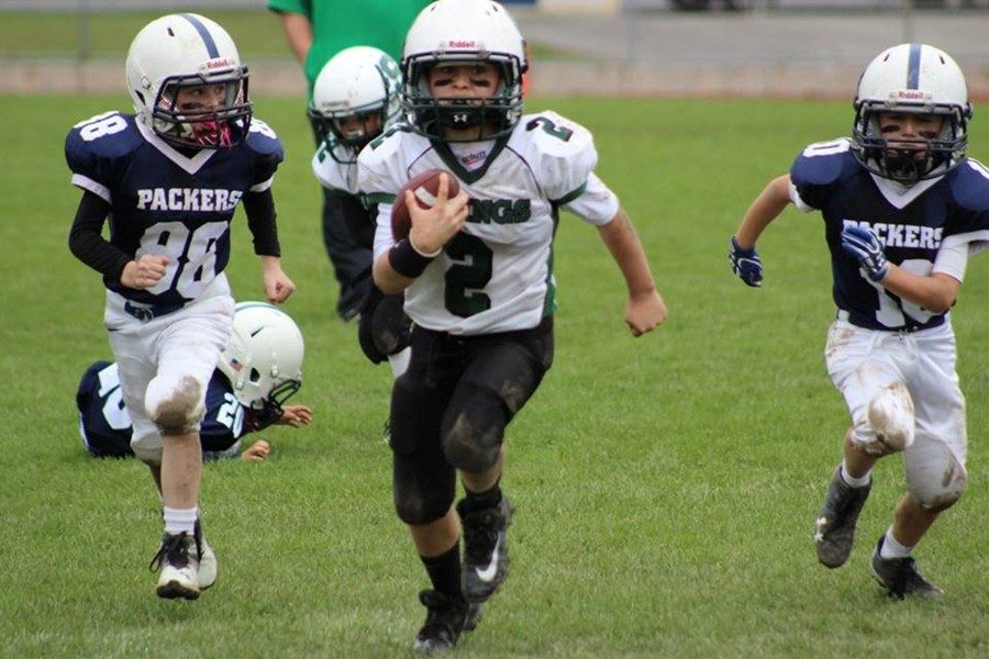 Chase Plummer breaks away from the pack on the field for South Side.