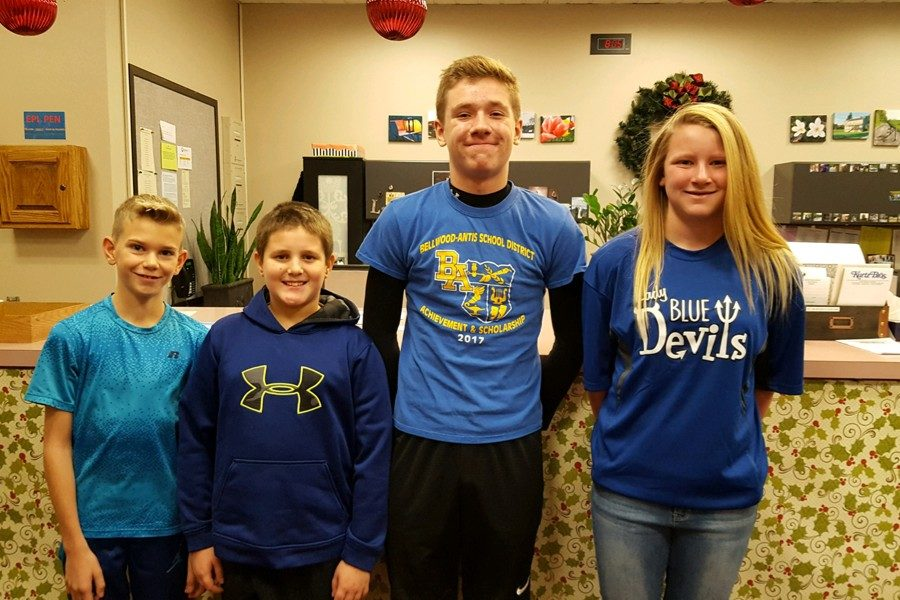 This weeks middle school Students of the Week (l to r): Zach Gonzalez, Jordan Hescox, Gaven Ridgway, Jaidyn McCracken.