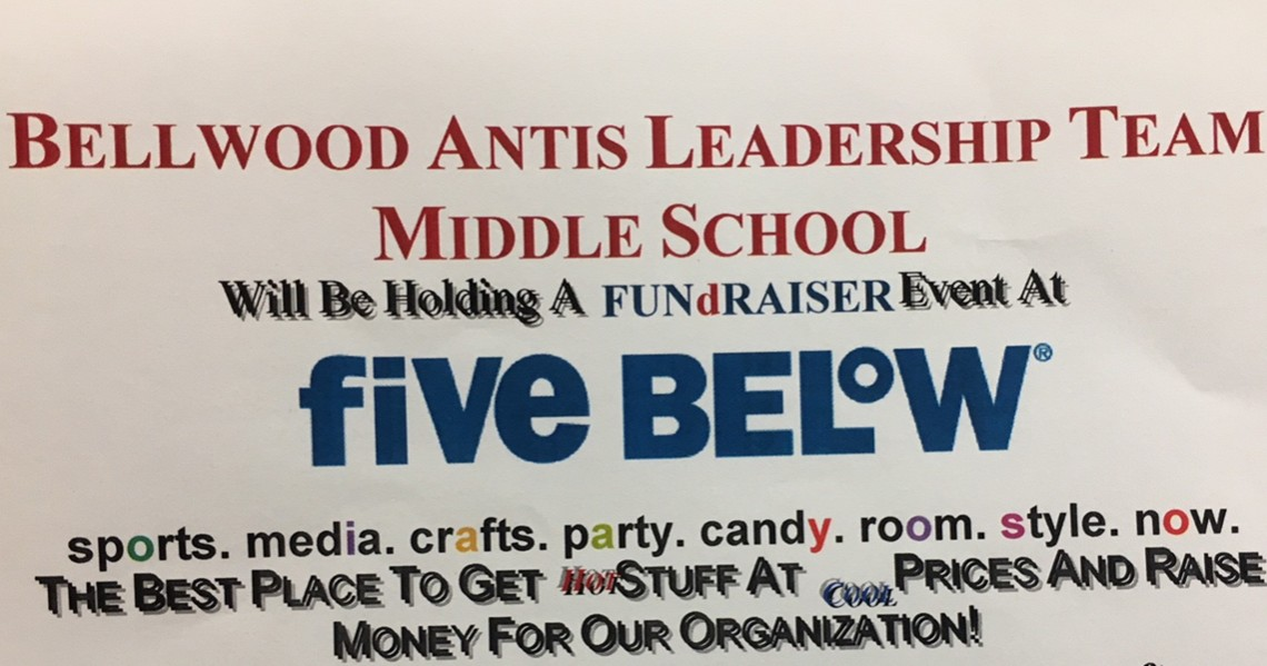 The MS Leadership Team is sponsoring at fundraiser at Five Below.