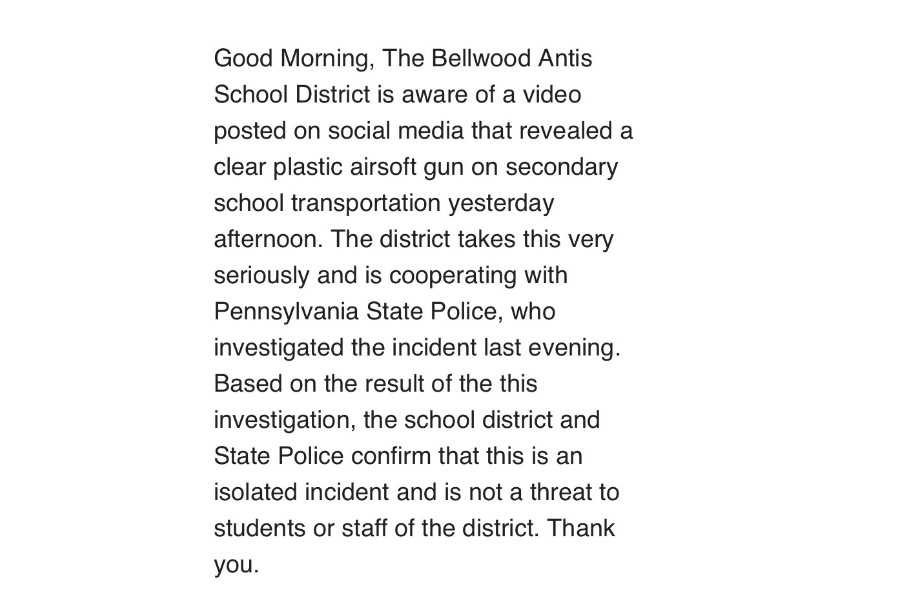 A copy of the message sent via phone messenger throughout the District on Tuesday morning.