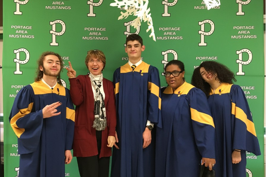 Dominic Faith, Ms. Hull Robert VanKirk, Shaylee Bennett, and Idamarie Lugo all took part in District chorus at Portage High School.