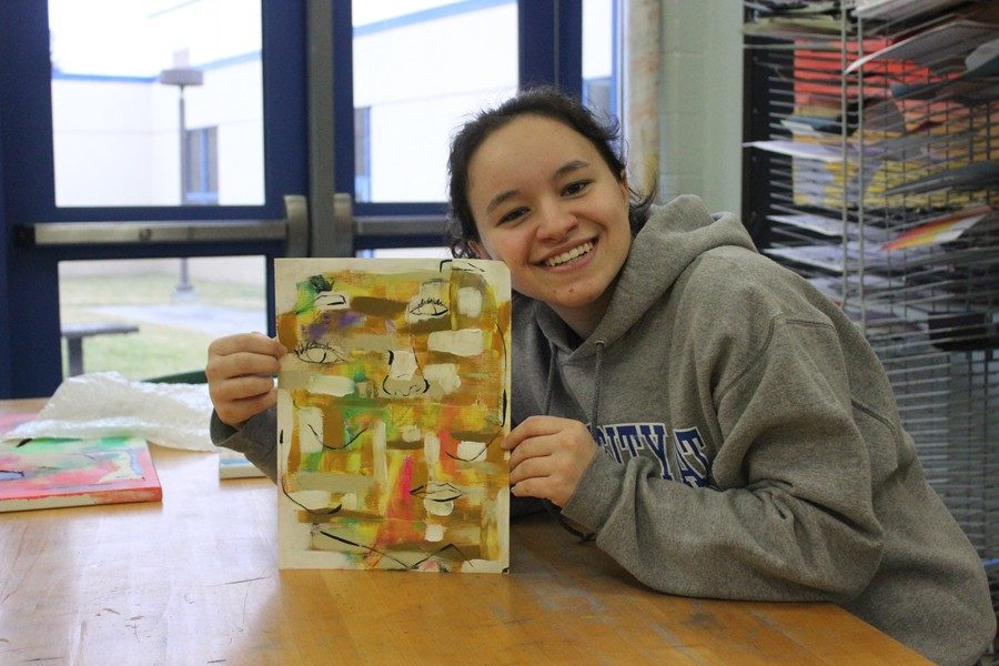 Hannah has been dabbling more in abstract art of late.