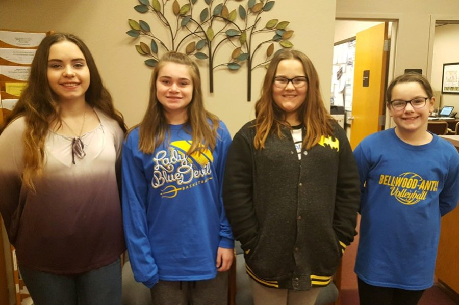 (L to r): Gabriella Musselman, Alyson Partner, Alyssa Sacchitella, and Macy Cherry are the newest middle school students of the week.