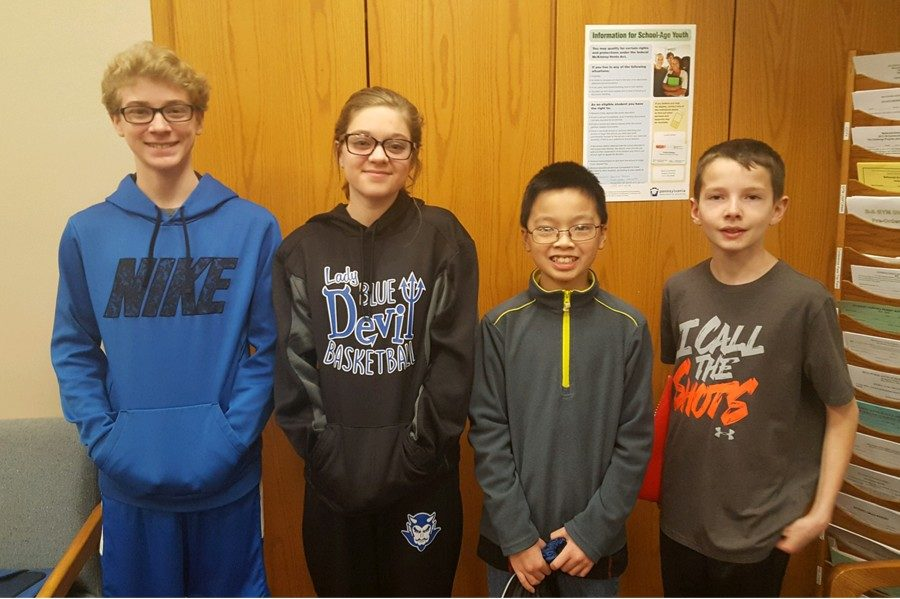 The newest middle school Students of the week are (L to r): Nathan Spiker, Caylee Conlon, Kevin Liang, and McCaulley Corle.