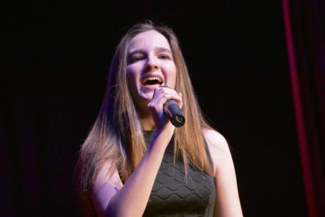 Alivia Jacobs belts out a note at the 2018 Variety Show.