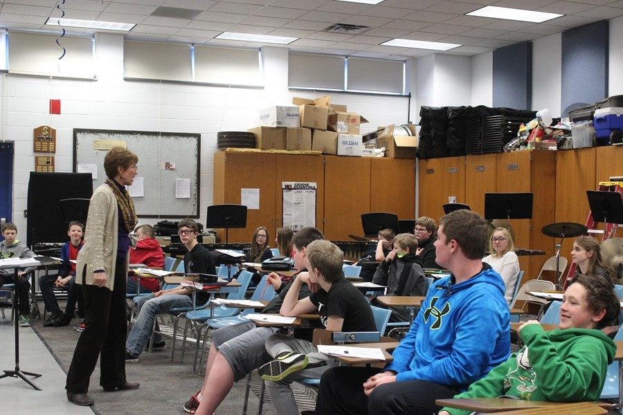 Ms. Beth Hull instructs her middle school music students.