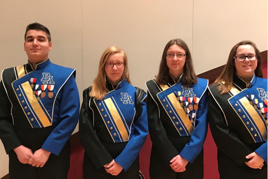 (L to r): Dominic Tornatore, Julie Bauer, Kaitlyn Farber, and Kyra Woomer attended the 26th annual Susquehanna University Honors Band.