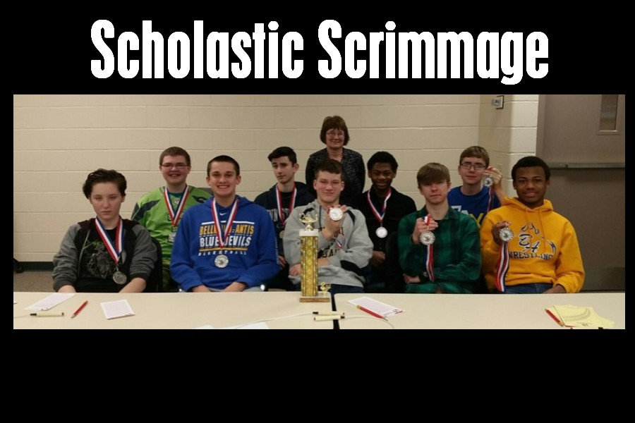 The junior high scholastic scrimmage team includes: (Front, 1 to r) Emma Corrado, Jack Luensmann, Zach Mallon, Kenneth Robison, and Alex Taylor; back (to to r)  Zach Amato, Caedon Poe, Mrs. Taylor (coach), Aiden Taylor, and John Sloey.
