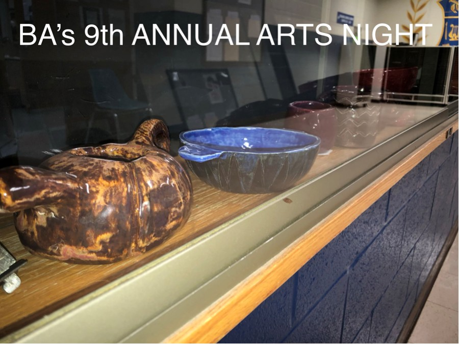 BA art classes prepare for their 9th annual arts night event.