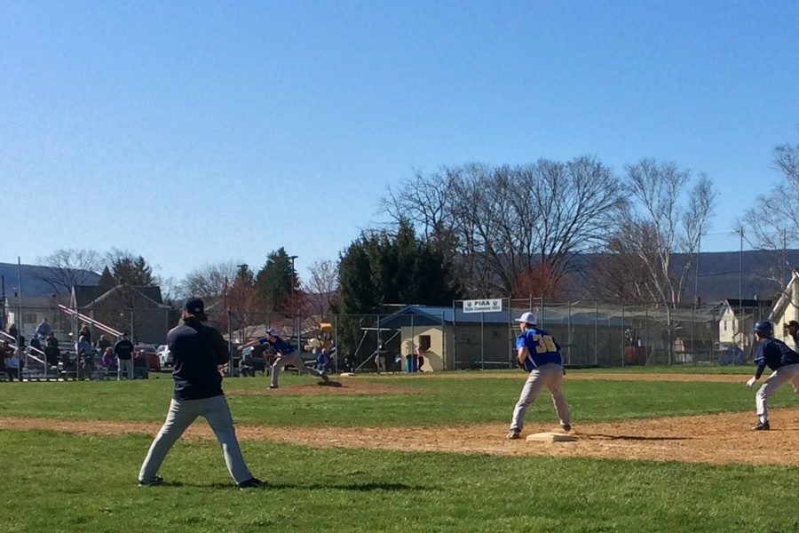 First+Baseman+Troy+Walker+patrols+the+field+while+Caden+Nagel+pitches+against+P-O