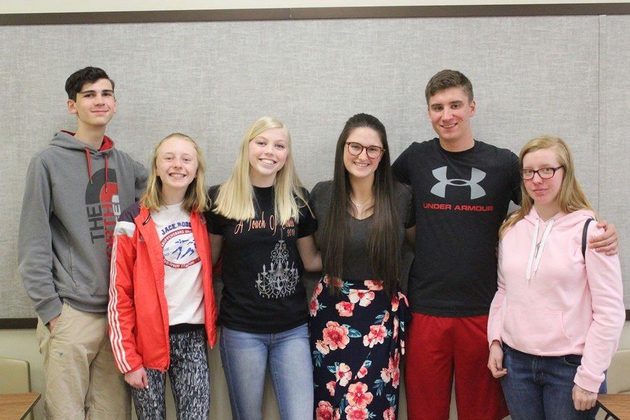 Pictured from left to right, Quintin Nelson, Jenna Bartlett, Kaelynn Behrens, Mya Decker, Jake Miller and Julie Bauer received awards from the Pa. Press Club. (Missing is Riley Miller)