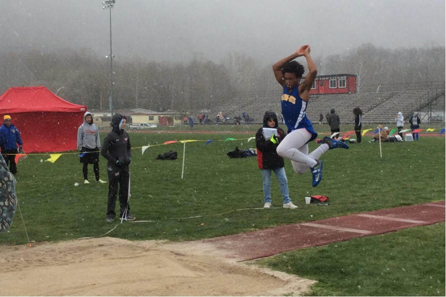 Senior Clay Engle had a good day in the snow, taking three first places in the process
